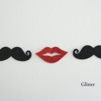 Macho Moustache & Hot Lips Bunting (Glitter)