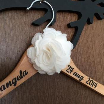 Name (with big pom pom) Wedding Hanger // Bridal Hanger